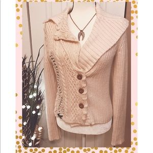 NWT Med Anthropologie Ivory Gorgeous Cardigan